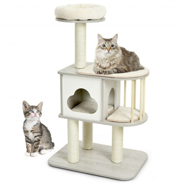 46 Inch Wooden Cat Activity Tree with Platform and Cushions-Gray