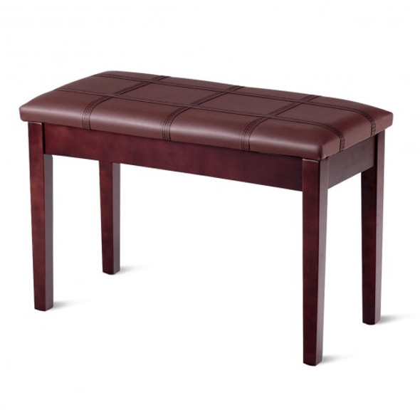 Solid Wood PU Leather Piano Double Duet Keyboard Bench-Brown