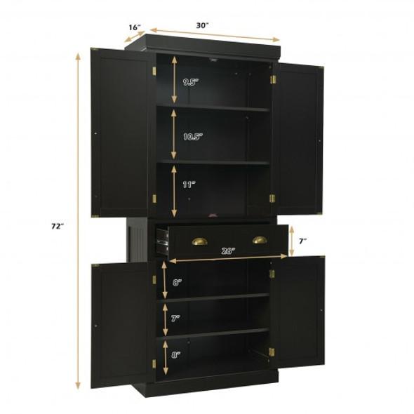 Cupboard Freestanding Kitchen Cabinet w/ Adjustable Shelves-Espresso