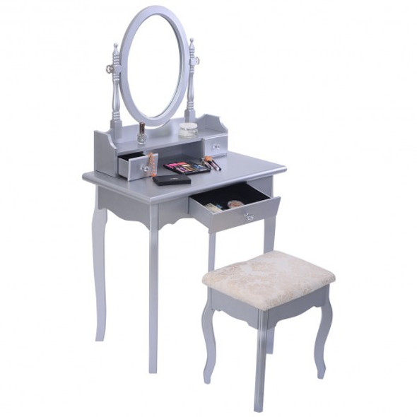 White Vanity Makeup Dressing Table with Rotatable Mirror + 3 Drawers