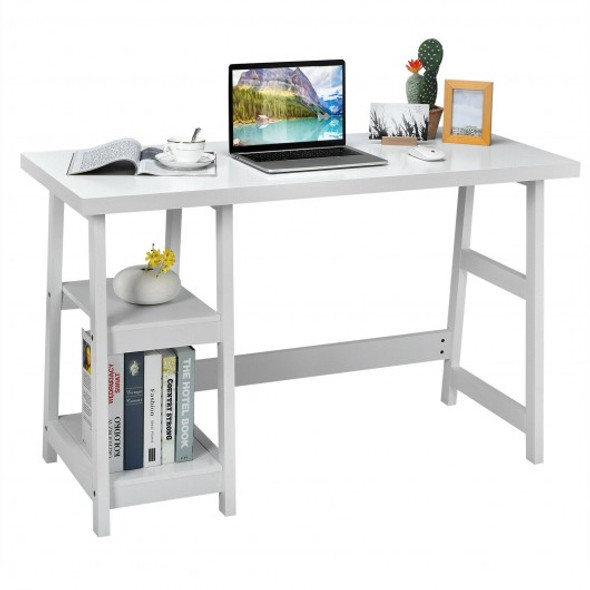 Trestle Computer Desk Home Office Workstation with Removable Shelves-White