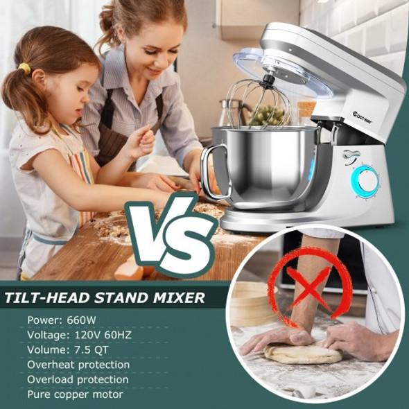 7.5 QT Tilt-Head Stand Mixer 6 Speed 660W with Dough Hook Beater -Silver
