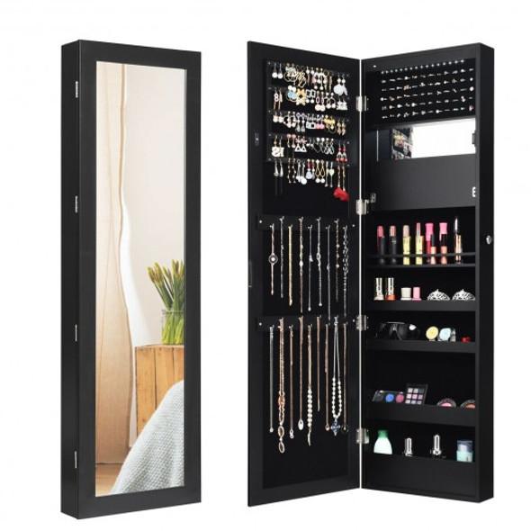 Lockable Wall Door Mounted Mirror Jewelry Cabinet w/LED Lights-Black - COHW66103BK