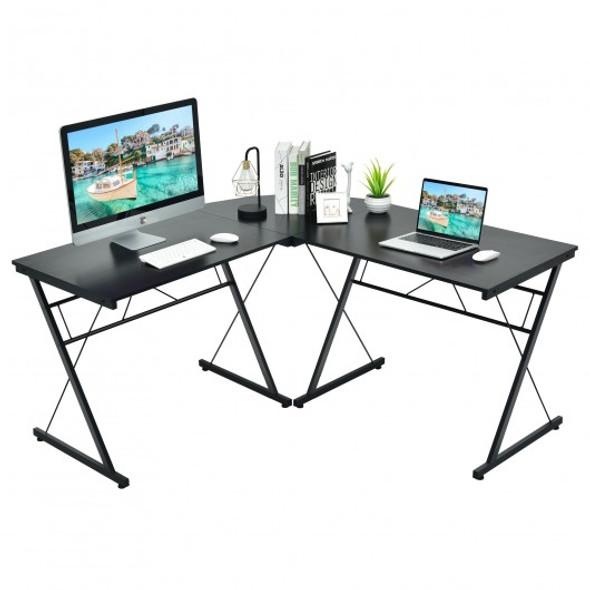 """59"""" L-Shaped Corner Desk Computer Table for Home Office Study Workstation-Black"""