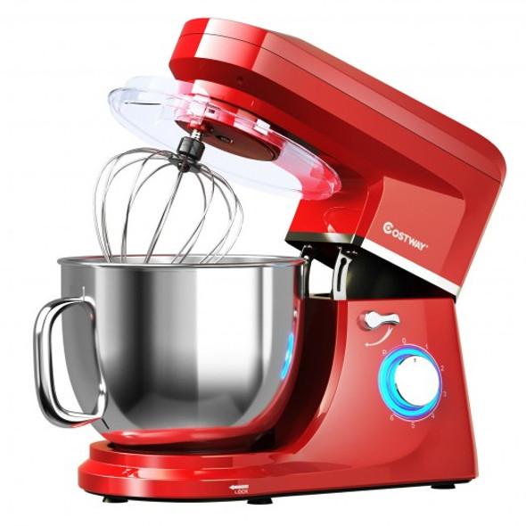 7.5 QT Tilt-Head Stand Mixer 6 Speed 660W with Dough Hook Beater -Red