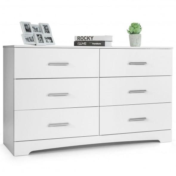 6 Drawer Double Dresser Chest of Drawers Storage Cabinet Organizer-White