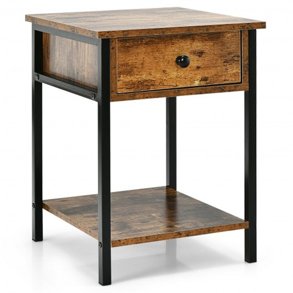 Industrial End Side Table Nightstand with Drawer Shelf-Rustic Brown