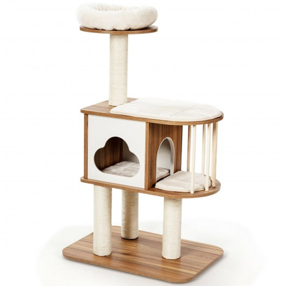 """46"""" Wooden Cat Activity Tree with Platform and Cushions-Brown"""