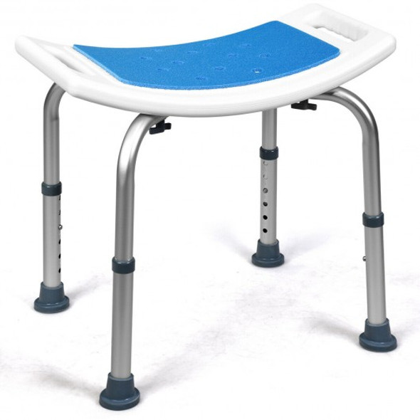 Shower Stool 6 Adjustable Height Non-Slip Padded Blue Seat