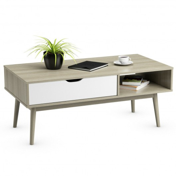 Coffee Cocktail Accent Table with Drawer and Storage Shelf-Gray