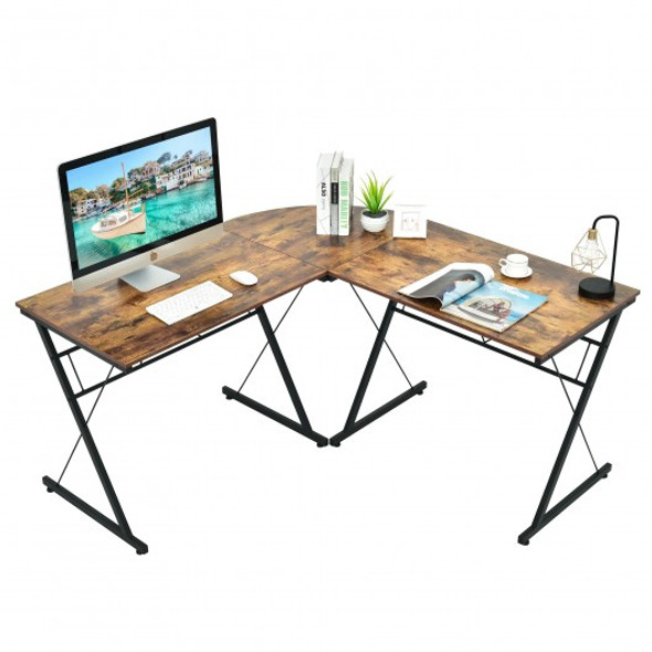 "59"" L-Shaped Corner Desk Computer Table for Home Office Study Workstation-Brown"