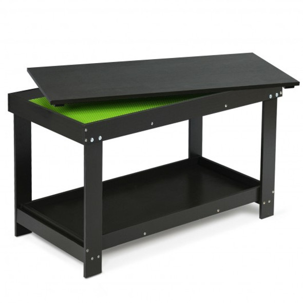 Solid Multifunctional Wood Kids Activity Play Table-Black