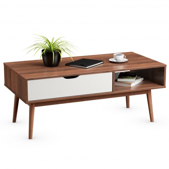 Coffee Cocktail Accent Table with Drawer and Storage Shelf-Coffee
