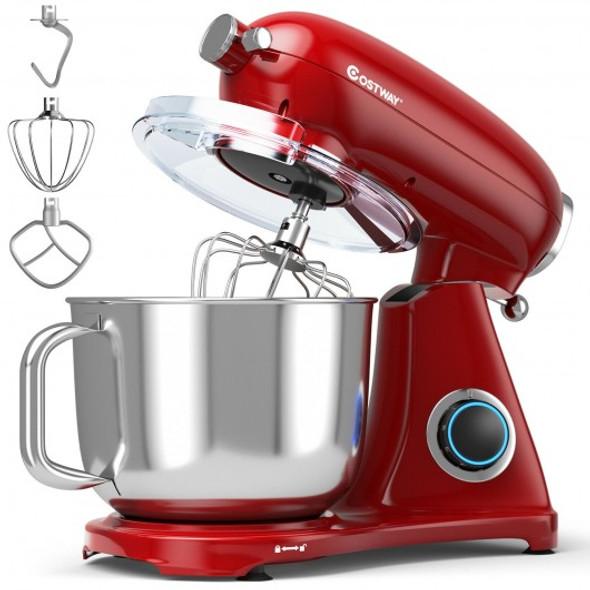 7 Quart 800W 6-Speed Electric Tilt-Head Food Stand Mixer-Red