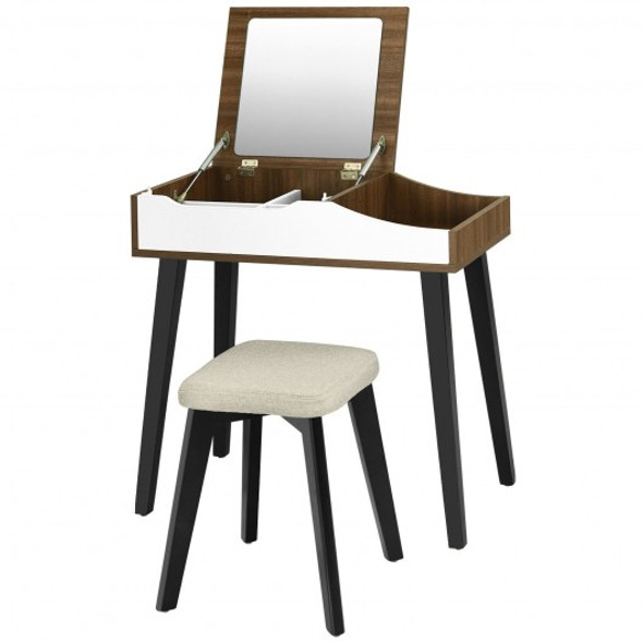 Vanity Table Set with Flip Top Mirror and Padded Stool-Wood