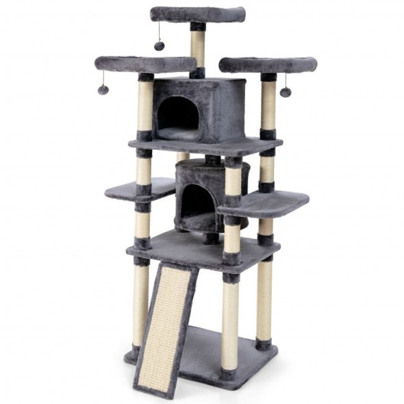 """67"""" Multi-Level Cat Tree with Cozy Perches Kittens Play House-Light Gray"""