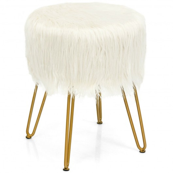 Faux Fur Vanity Chair Makeup Stool Furry Padded Seat Round Ottoman-White