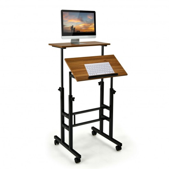 Height Adjustable Mobile Standing Desk with rolling wheels for office and home-Walnut