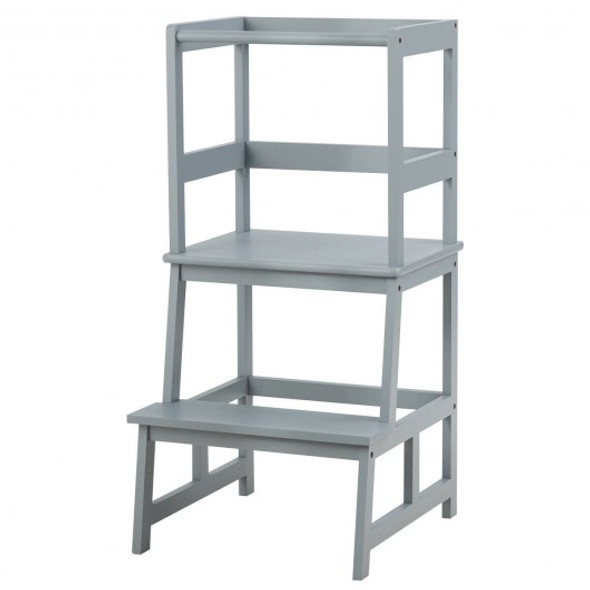 Kids Wooden Kitchen Step Stool with Safety Rail-Gray