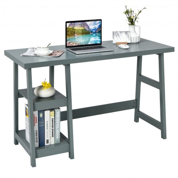 Trestle Computer Desk Home Office Workstation with Removable Shelves-Gray