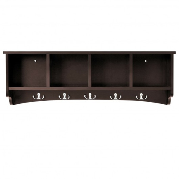 Hanging Entryway Shelf Coat Rack Wall Mounted Storage Cabinets-Brown