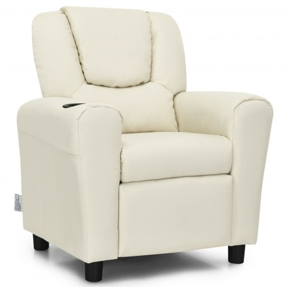 Children PU Leather Recliner Chair with Front Footrest-Beige