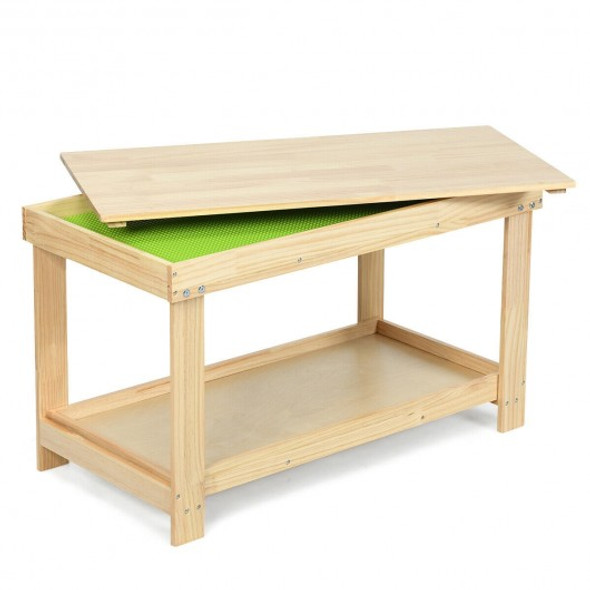 Solid Multifunctional Wood Kids Activity Play Table-Natural