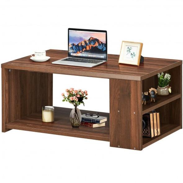 Coffee Table Sofa Side Table with Storage Shelves -Walnut
