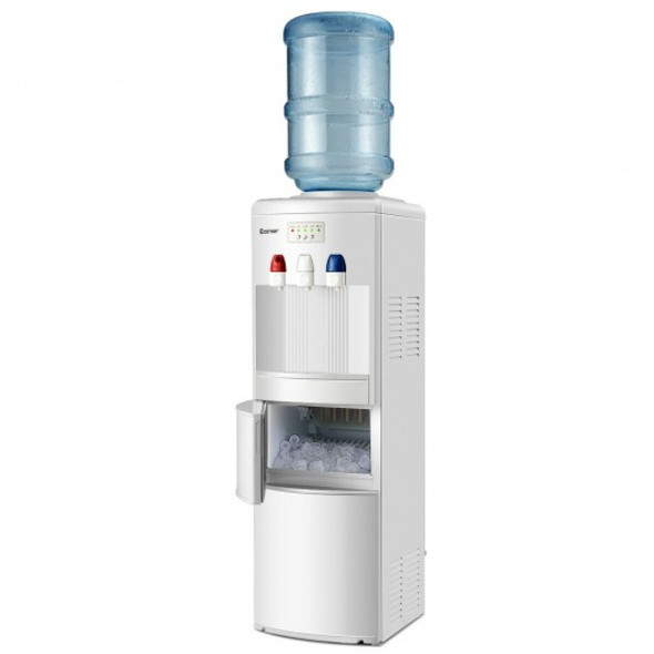 Top Loading Water Dispenser with Built-In Ice Maker Machine-White