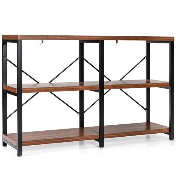 """3 Tier 47"""" Console Metal Frame Sofa Table-Rustic Brown"""