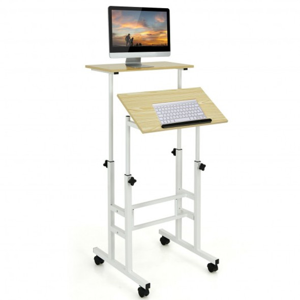 Height Adjustable Mobile Standing Desk with rolling wheels for office and home-Natural