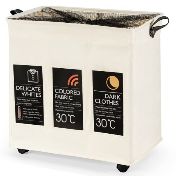 120L 3-Section Laundry Hamper Sorter with Wheels and Mesh Cover-Beige