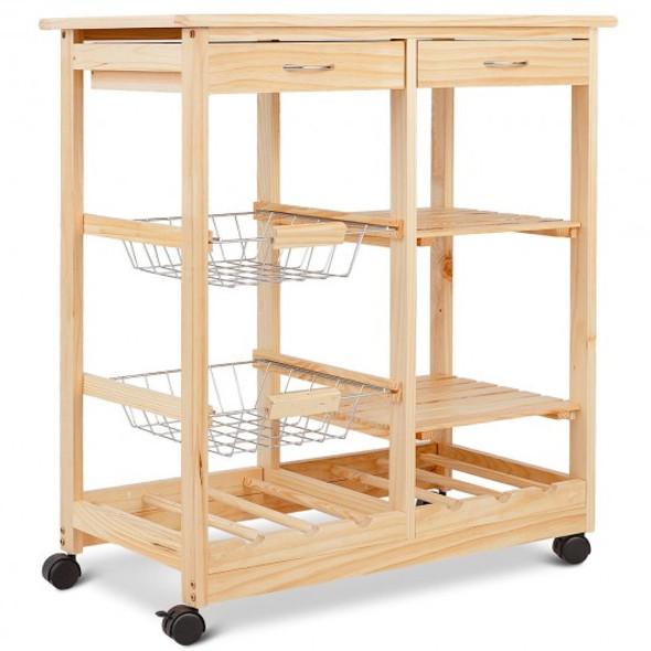 Rolling Wood Kitchen Trolley Cart Island Shelf w/ Storage Drawers Baskets New-Natural