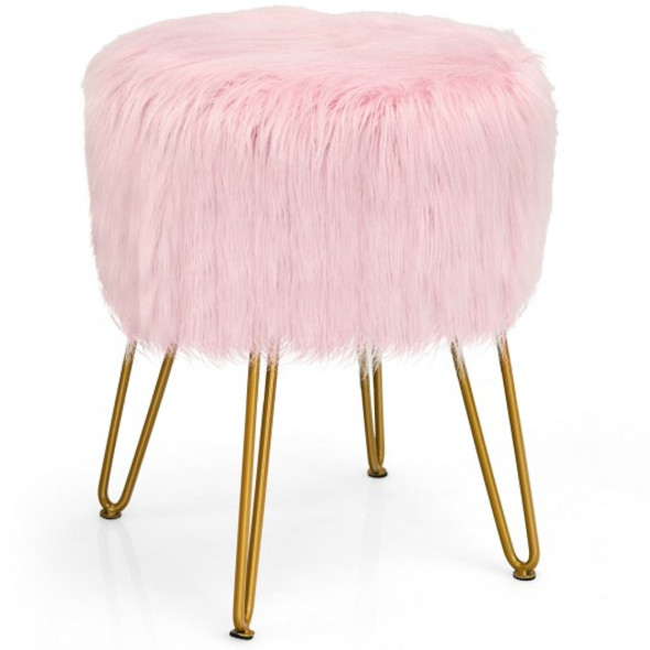 Faux Fur Vanity Chair Makeup Stool Furry Padded Seat Round Ottoman-Pink