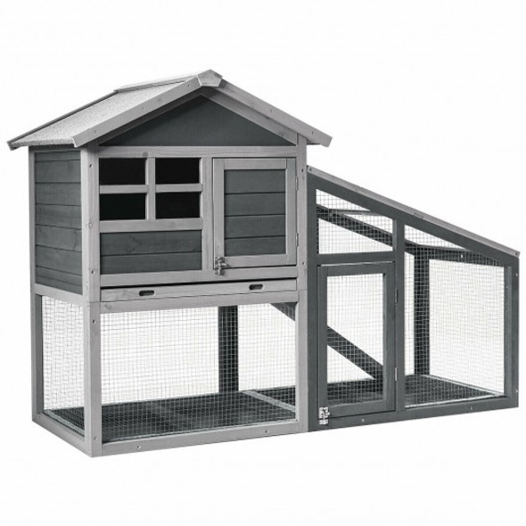 Wooden Chicken Coop with Ventilation Door and Removable Tray for Indoor and Outdoor