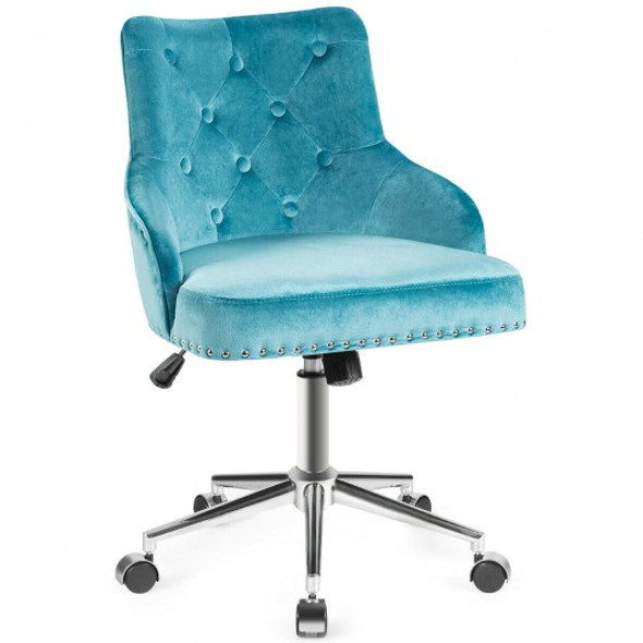 Tufted Upholstered Swivel Computer Desk Chair with Nailed Tri-Turquoise