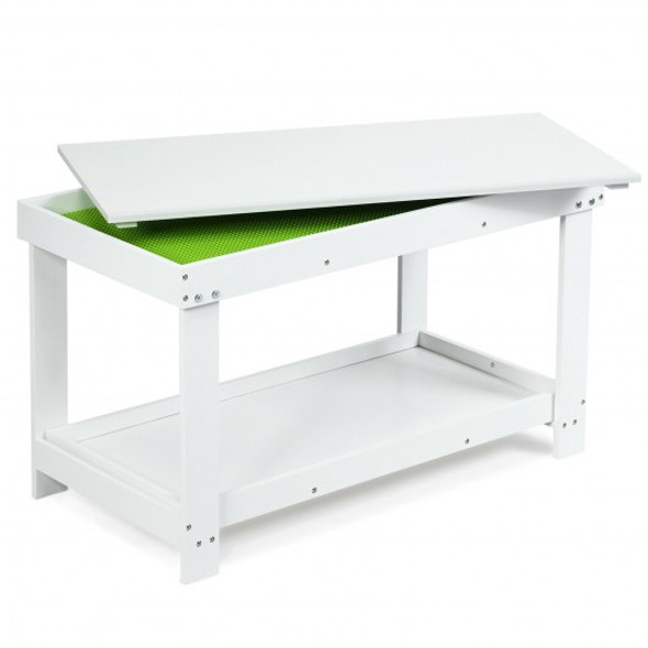 Solid Multifunctional Wood Kids Activity Play Table-White