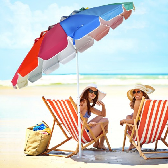 8FT Portable Beach Umbrella with Sand Anchor and Tilt Mechanism for Garden and Patio-Multicolor