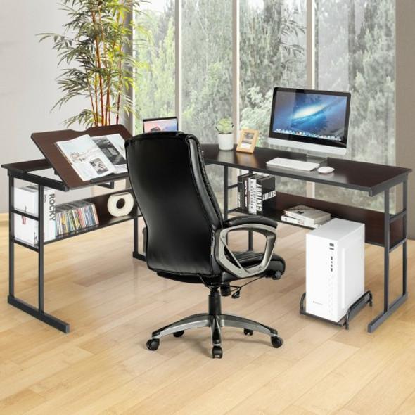 L-Shaped Computer Desk with Tiltable Tabletop-Brown