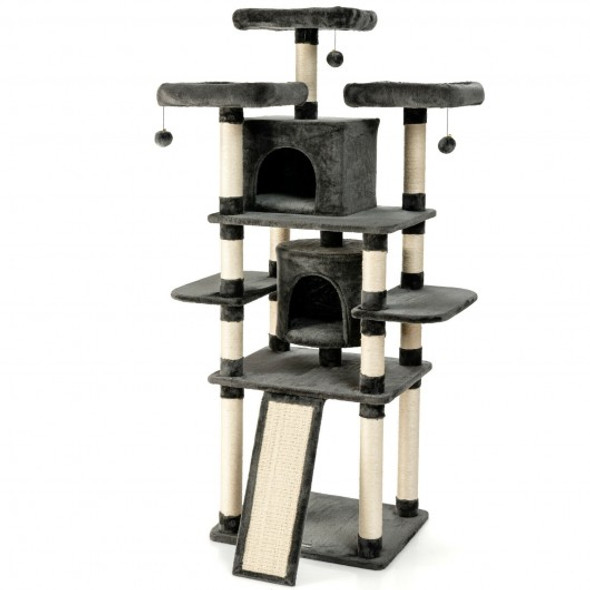 """67"""" Multi-Level Cat Tree with Cozy Perches Kittens Play House-Dark Gray"""