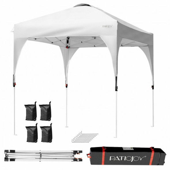 6.6 x 6.6 FT Pop Up Height Adjustable Canopy Tent with Roller Bag-White