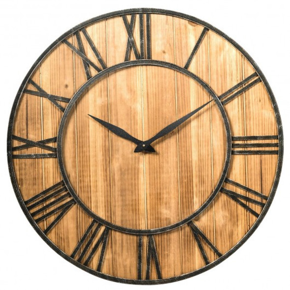 """30"""" Round Wall Clock Decorative Wooden Silent Clock with Battery - COHW61447BN"""