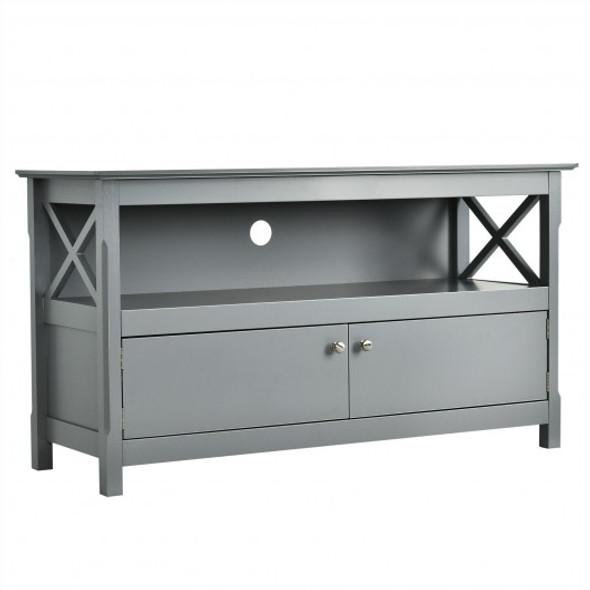 "44"" Wooden Storage Cabinet TV Stand-Gray"