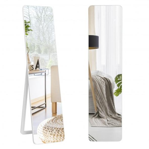 Full Length Frameless Wall Mountable Floor Mirror-White