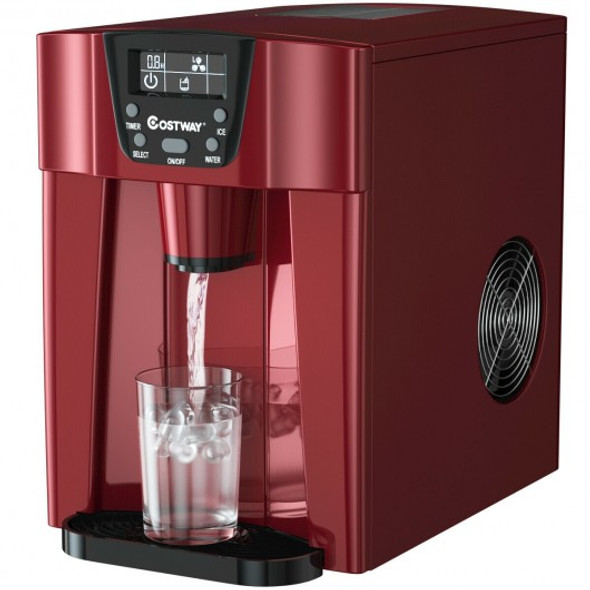 2-In-1 Ice Maker Water Dispenser 36lbs/24H LCD Display-Red