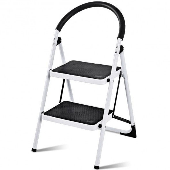 2.75 Ft Folding Step Stool with Iron Frame & Anti-Slip Pedals for 330lbs Capacity