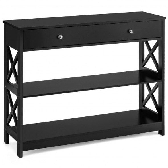 Console Accent Table with Drawer and Shelves -Black