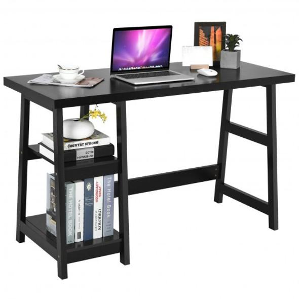 Trestle Computer Desk Home Office Workstation with Removable Shelves-Black