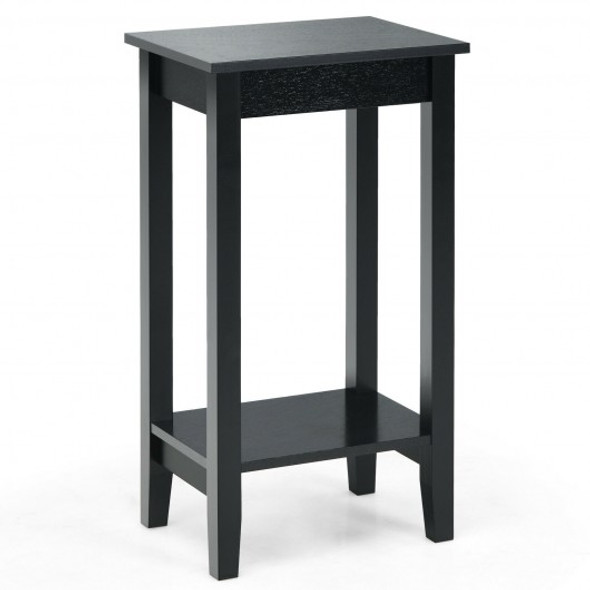 2-Tier Nightstand End Side Wooden Legs Table for Bedroom-Black