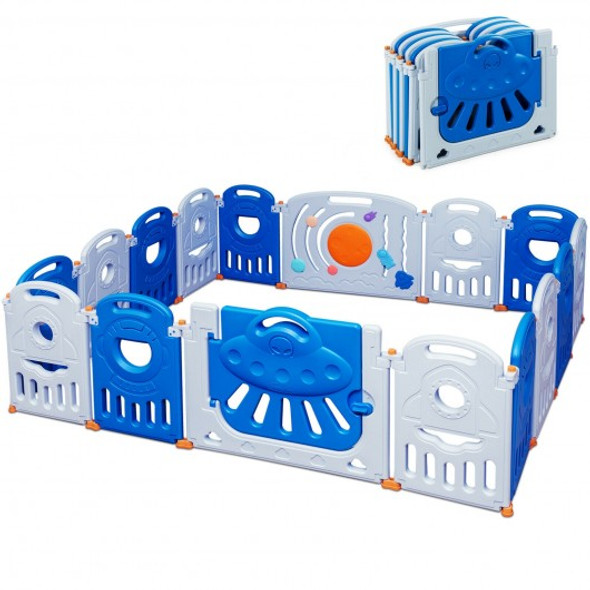 16-Panel Baby Playpen Safety Play Center with Lockable Gate-Blue